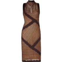Missoni Espresso/Curry Wool-Blend Variegated Knit Dress