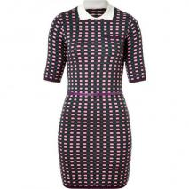 Missoni M Grape/Green/Rose Patterned Knit Belted Dress