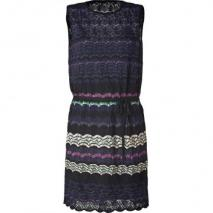 Missoni M Night Blue/Black Multicolor Belted Knit-Dress
