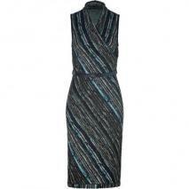 Missoni Slate/Aquamarine Metallic Belted Knit Dress