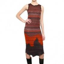 Missoni Viskose Woll Strick Kleid Orange