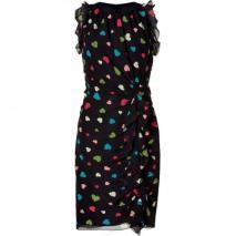 Moschino C&C Black Draped and Ruffeled Silk Dress