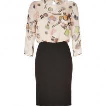 Moschino C&C Black/Multicolor Make-Up Print Silk Dress