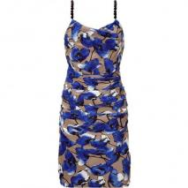 Moschino C&C Royal Blue/Taupe Floral Silk Dress