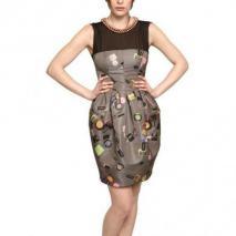 Moschino Cheap&Chic Perlen Kette Bedrucktes Duchesse Kleid