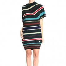 Moschino Long sleeve asymmetric stripes dress