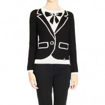 Moschino Long sleeve round neck tromp l oeuil dress