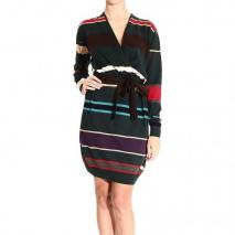 Moschino Long sleeve v neck cross stripes dress