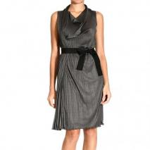 Moschino Sleeveless ring neck pleated belt dress