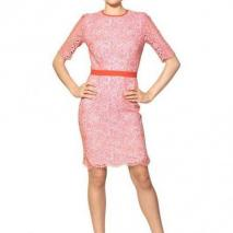 MSGM Baumwoll Spitzen Kleid Rosa