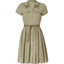 Mulberry Summer Khaki Clover Jacquard Dress