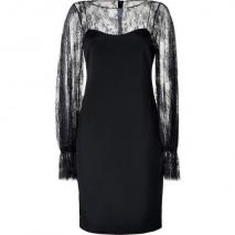 Notte by Marchesa Black Silk Bateau Long Sleeve Lace Dress