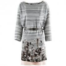 Odeeh Mocca Striped Belted Dress