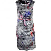 Oui Cocktailkleid grey red