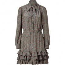 Paul & Joe Black/Salmon Printed Silk Dress With Tie
