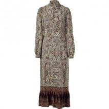 Paul & Joe Khaki Multi Collor Print Silk Maxi Dress
