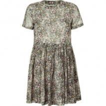 Paul & Joe Sister Grey/Rose/Mint Floral Print Silk Dress