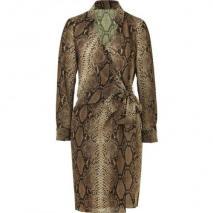 Paule Ka Sepia Snake Print Wraped Dress
