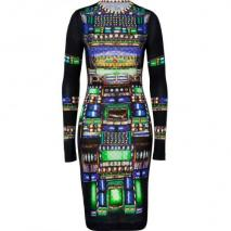 Peter Pilotto Black-Multi Wool Jersey Dress