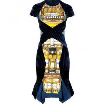 Peter Pilotto Blue-Gold Velvet Patchwork Dress
