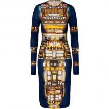 Peter Pilotto Blue-Multi Wool Jersey Dress