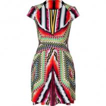 Peter Pilotto Damask Red Multi Printed Silk Dress