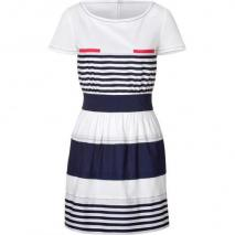 Philosophy di Alberta Ferretti White and Navy Stripe Dress