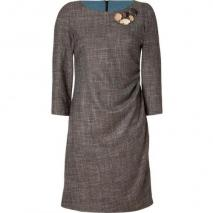 Piazza Sempione Brown Jeweled Check Dress