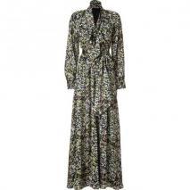 Rachel Zoe Black/Lime Belted Silk Maxi Dress