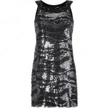 Rachel Zoe Black Two-Tone Sequined Iren Dress