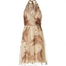 Ralph Lauren Black Toast/Cocoa Silk Crinkle Havana Print Dress