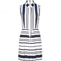 Raoul Navy Stripe Sleeveless Swinging Shirt Dress