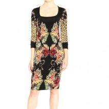 Roberto Cavalli 3/4 sleeve jersey animal print jersey sheath dress