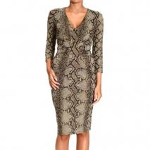 Roberto Cavalli 3/4 sleeve v neck jersey curled python print dress
