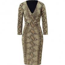 Roberto Cavalli Aloe Vera Phyton Print Draped Dress