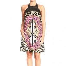Roberto Cavalli Alter collar eco leather lion print dress