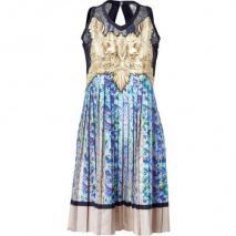 Roberto Cavalli Azur&Cream Printed Plisseé Pleated Silk Dress