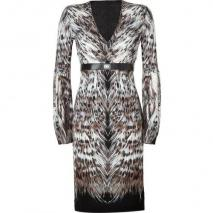 Roberto Cavalli Black-Multi Belted Feather Print Dress