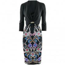 Roberto Cavalli Black Multi Print Dress Wings