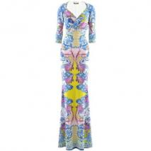 Roberto Cavalli Bleu Fuchsia Print Evening Dress