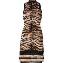 Roberto Cavalli Bronze/Black Intarsia Knit Dress with Fur Trim