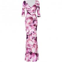 Roberto Cavalli Dew Drop Orchid Print Maxi Dress with Brooch