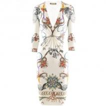 Roberto Cavalli Ecru Multi Print Dress Wings