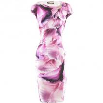 Roberto Cavalli Fuchsia White Flower Dress