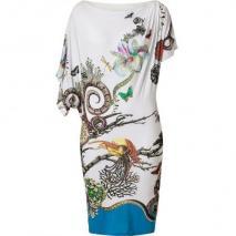 Roberto Cavalli Ivory-Multi Jewel & Snake Print Draped Jersey Dress