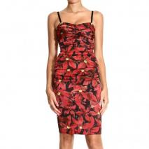 Roberto Cavalli Leaf print braces drape sheath dress