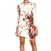 Roberto Cavalli Long sleeve asymmetric nevada print dress