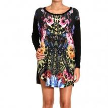 Roberto Cavalli Long sleeve fabric silk wild carnation print dress