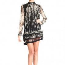 Roberto Cavalli Long sleeve round neck feathers print dress