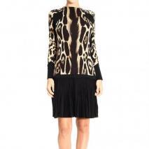 Roberto Cavalli Long sleeve spotted print pleated skirt dress